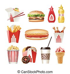 Set beautiful cartoon icons of fast food - Set of vector...