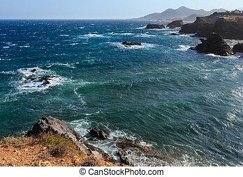 Atlantic ocean stormy view, Spain.