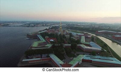 Aerial view of Peter and Paul Fortress in Saint-Petersburg...