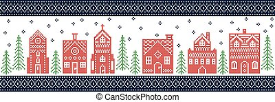 Scandinavian style and Nordic culture inspired Christmas, festive winter wonderland village pattern in cross stitch style with gingerbread house, church, little town houses, tree in red green blue