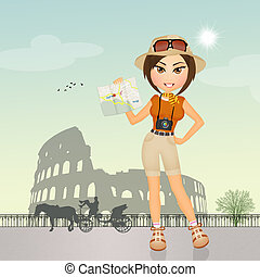 tourists visiting the Colosseum - illustration of tourists...