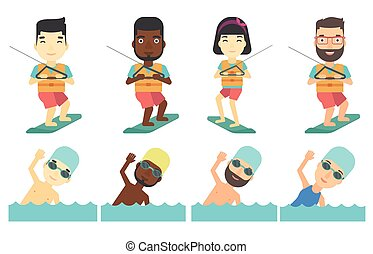 Vector set of water sport characters. - Wakeboarder making...