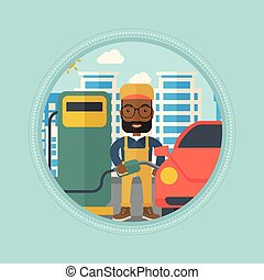 Worker filling up fuel into car. - An african-american...