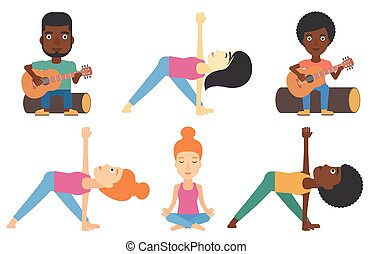 Vector set of tourists and people practicing yoga. - Young...