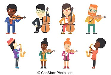Vector set of musicians characters. - Young smiling musician...