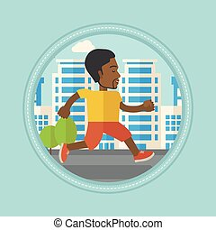 Young man running in the city vector illustration.