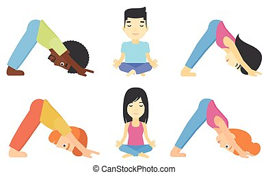 Vector set of men and women practicing yoga. - People...