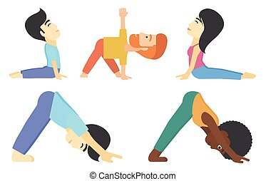 Vector set of men and women practicing yoga. - Man standing...