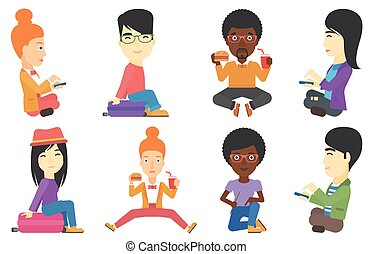 Vector set of tourists characters.