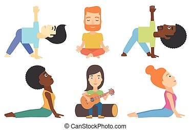 Vector set of tourists and people practicing yoga. - Man...