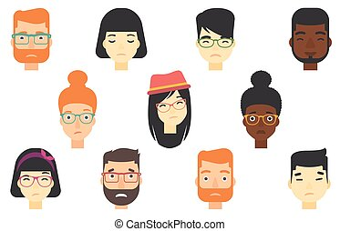 Set of human faces expressing different emotions. - Set of...