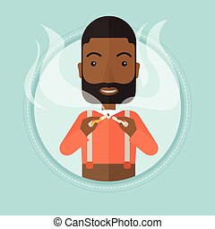 Man quit smoking vector illustration. - An african-american...