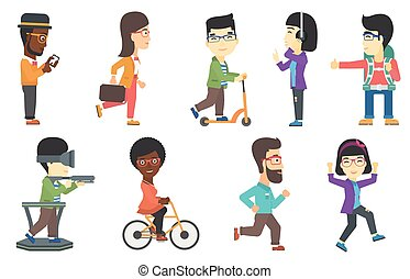Vector set of tourists and business characters. - Young...