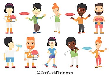 Vector set of sport characters. - Young man playing flying...