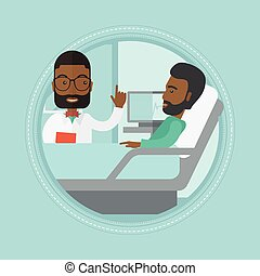 Doctor visiting patient vector illustration. - An african...