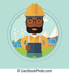 Male worker of solar power plant. - African-american worker...