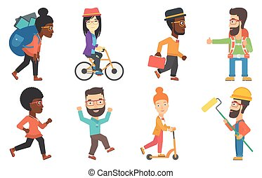 Vector set of tourists and business characters. - Tourist...