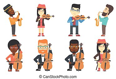 Vector set of musicians characters. - Young musician playing...