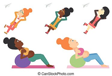 Vector set of families and business characters. - Pregnant...