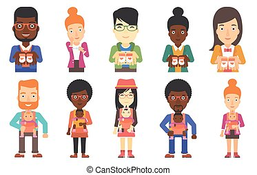 Vector set of maternity and parenthood. - Mother walking...