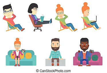 Vector set of business characters and tourists. - Happy...