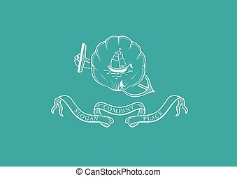 Marine emblem, shield, anchor,shell and steering wheel