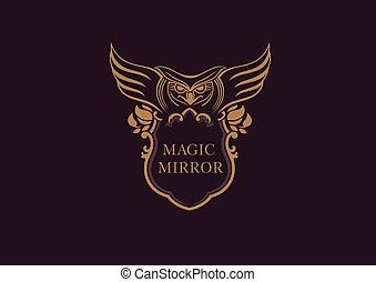 Creative emblem of the magic mirror with an owl