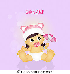 baby female with rattle - illustration of baby female with...