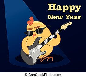 Vector New Year card. young cockerel plays guitar