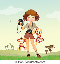 girl at the zoo with monkeys - illustration of girl at the...