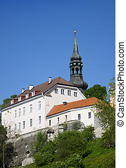 View of houses on the hill Toompea hill and St.Mary Church....