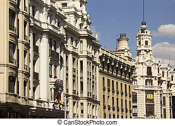 Gran Via in Madrid, Spain - Historical buildings with...