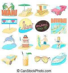 Miami travel icons set, cartoon style