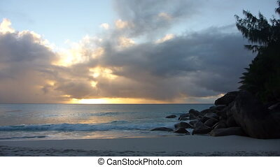 Sunset at the beach, Seychelles - Sunset at the beach,...
