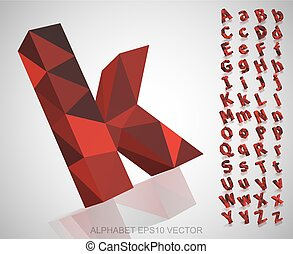 Set of Red 3D polygonal Letters with reflection. EPS 10 vector.