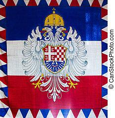 Serbian Flag in Belgrade, Serbia - The tricolour Serbian...