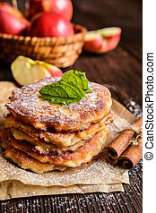 Sweet apple and curd pancakes - Sweet pancakes made of...