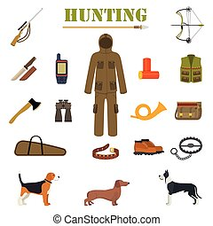 Hunting equipment kit with rifle, knife, suit, shotgun,...