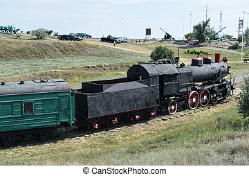 The old steam locomotive in open air museum