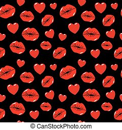 Lips Kiss and Heart Seamless Pattern. Love Background in Retro Fashion Style