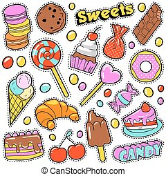 Sweet Food Badges Set with Patches, Stickers, Candies,...