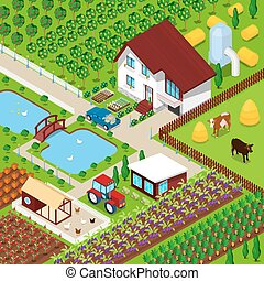 Isometric Rural Farm Agricultural Field with Animals and House