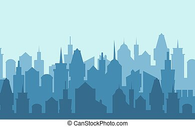 Set of cityscape background. Vector illustration - Set of...