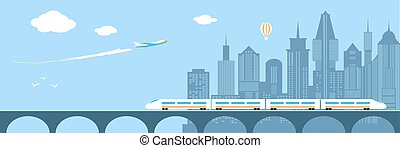Train running through the city. Railway and bridge - Train...
