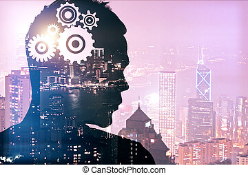 Brainstorming concept - Silhouette of thoughtful young man...