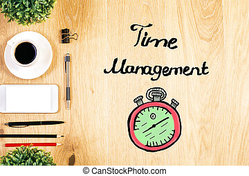 Time management concept - Top view of wooden desktop with...