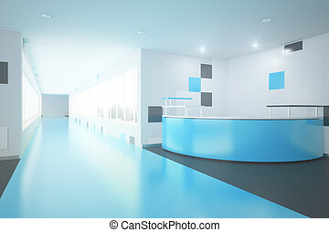 Blue office lobby - Modern blue interior with reception...