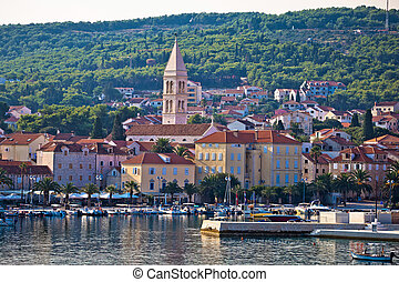 Supetar waterfront view from sea, island of Brac, Dalmatia,...