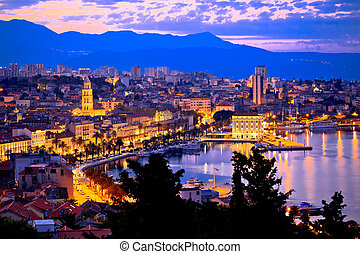 Aerial evening view of Split waterfront from Marjan hill,...
