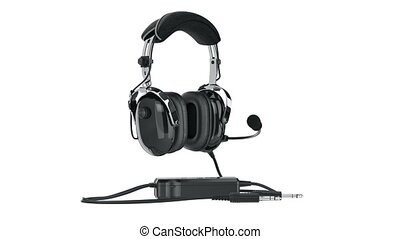 Headphones black glossy aviation, alpha channel. 3D...